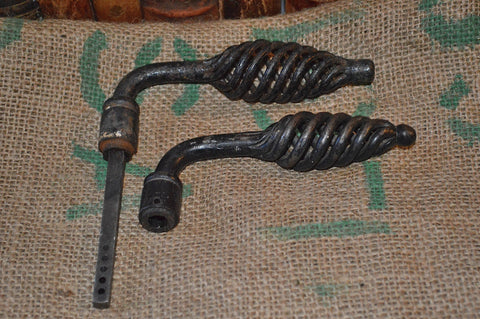 Antique French Door Handles Set Pair Black Cast Iron