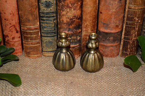 Antique Pair Large French Cord Pulls Brass Tassel Drapery Hardware