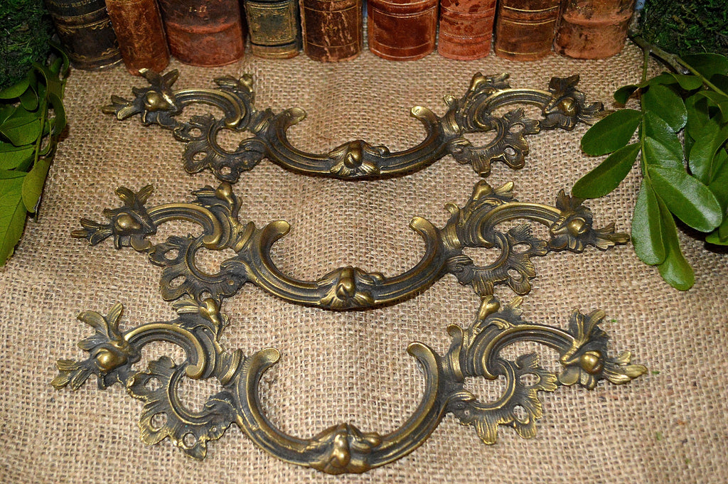 Antique French Large Drawer Pulls Set of 3 Brass Handles Hardware