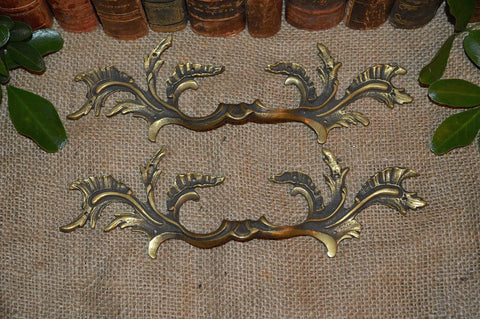 Antique Pair French Brass Large Drawer Pulls Handles Hardware