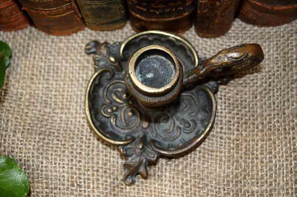 Antique French Brass Candle Holder Ornate Chamber Style - Antique Flea Finds