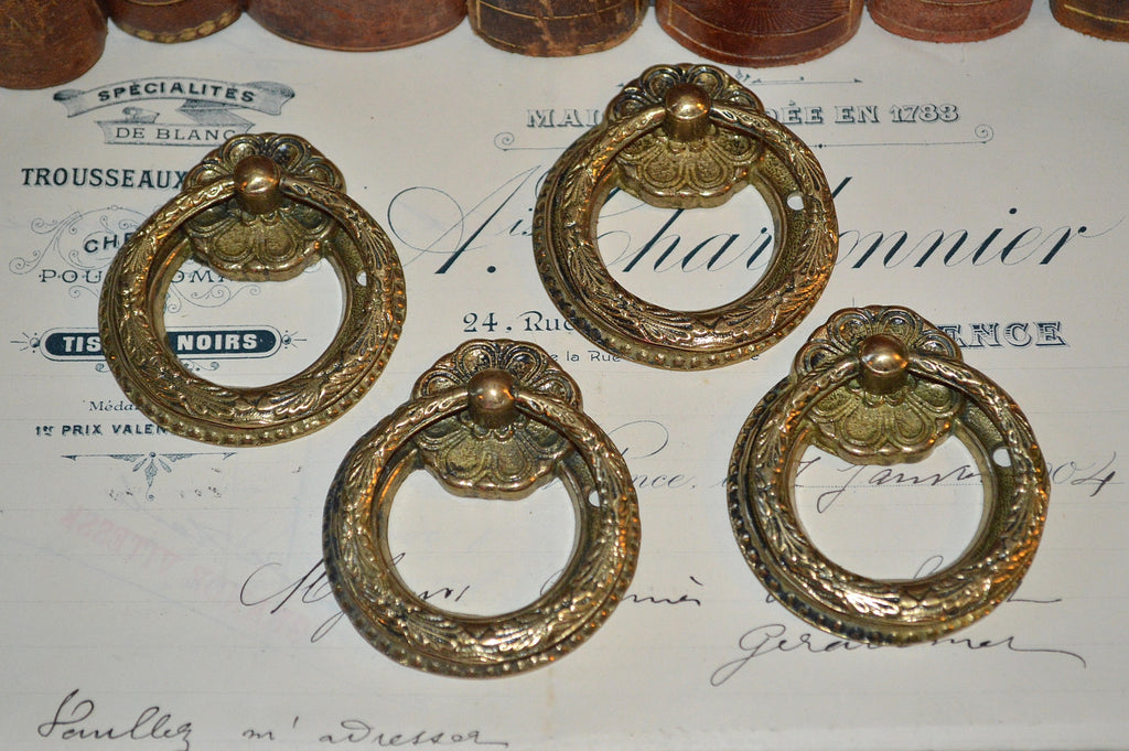 antique set of 4 french ring drawer pulls brass hardware antique