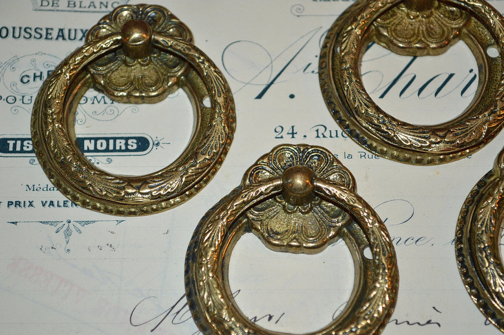 gold ring drawer pulls. antique set of 4 french ring drawer pulls brass hardware gold