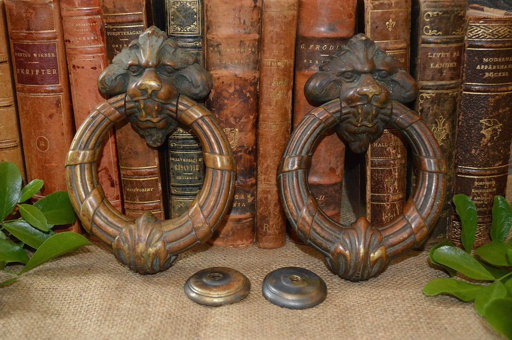 French Antique Door Knocker Pair Large Lion Heads with Strike Plates French  Chateau - French Antique Door Knocker Pair Large Lion Heads With Strike Plates