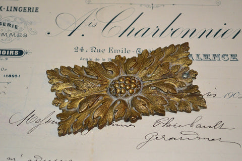 Antique French Rosette Bronze Rectangular Ormolu Hardware