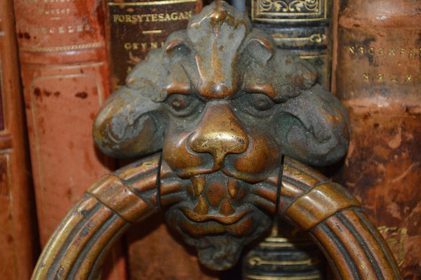French Antique Door Knocker Pair Large Lion Heads with Strike Plates French Chateau