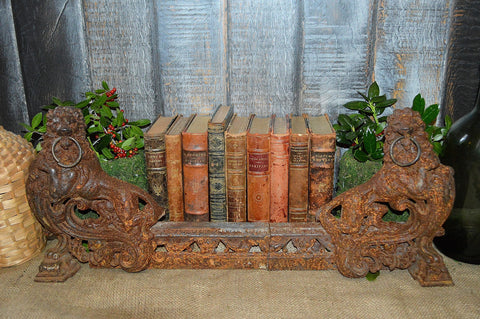 Antique French Lion Fireplace Chenets Andirons Guard Surround Cast Iron