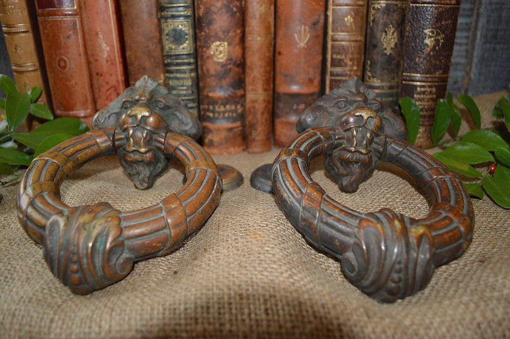 ... French Antique Door Knocker Pair Large Lion Heads with Strike Plates  French Chateau ... - French Antique Door Knocker Pair Large Lion Heads With Strike Plates