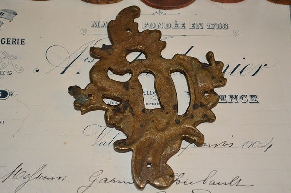 Antique French Escutcheon Large Bronze Floral Keyhole Hardware