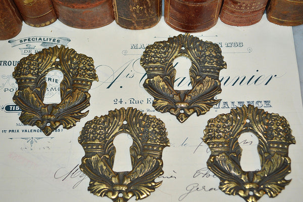 Antique French Escutcheon Brass Floral Keyhole Hardware 4 Available Sold Individually