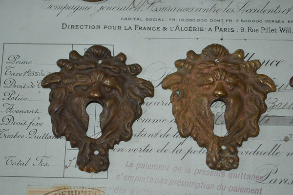 Antique French Green Man Bronze Keyhole Escutcheon