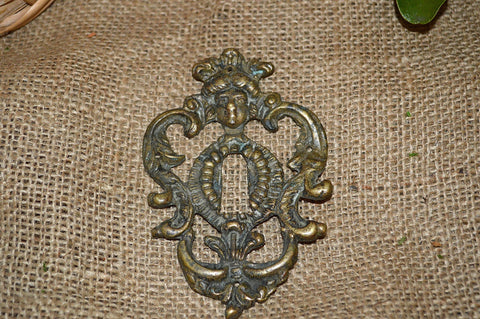 Antique French Escutcheon Bronze Figural Female Keyhole Hardware