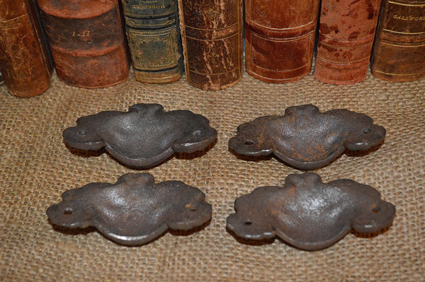 Antique Set of 4 French Drawer Bin Cup Pulls Handles Silver Cast Iron Hardware