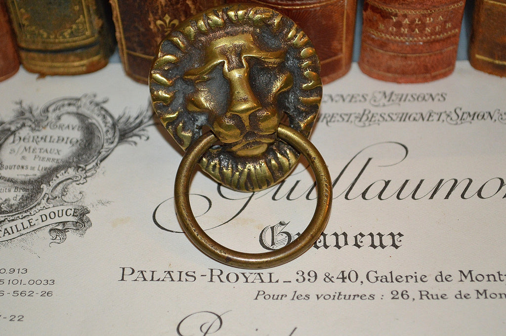 Antique French Lion Head Ring Drawer Pull Brass Hardware