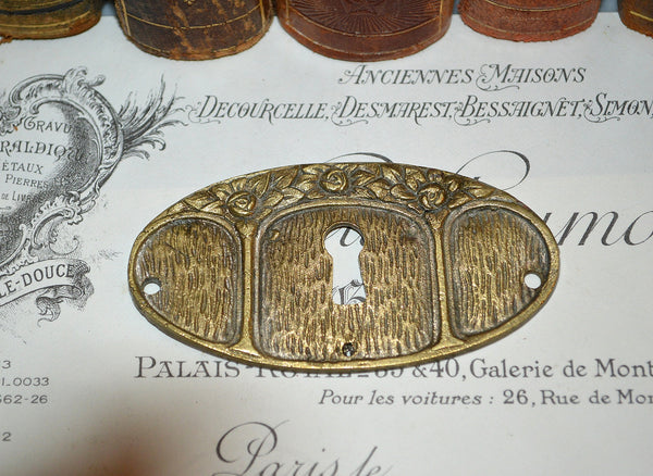 Antique French Keyhole Escutcheon Plate Brass Floral Hardware 2 Available Sold Individually
