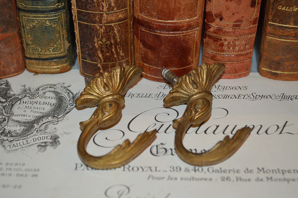 Antique Pair French Hooks Large Goose Neck Cup Hook Hardware
