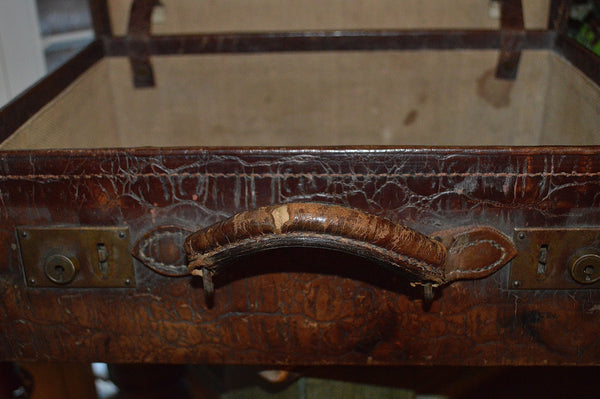 Antique Croc Embossed Luggage Leather Suitcase Brown Case