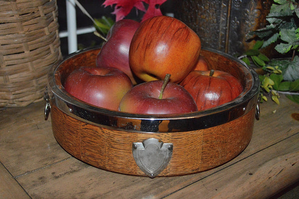 Vintage English Oak Wood Fruit Bowl Chrome Lion Heads