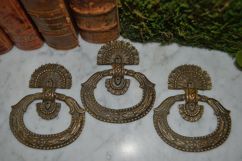 Antique French Pulls Handles Set of 3 Beaded Leaf Design Bronze Hardware