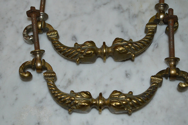 Antique Pair French Handles Pulls Heavy Brass Furniture Hardware