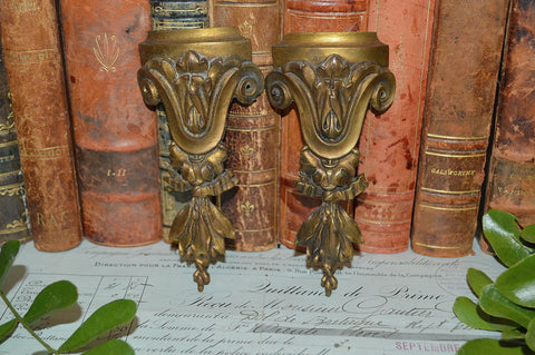 Antique Small Pair French Pediment Mounts Bronze Ormolu Hardware 3 Pair Available