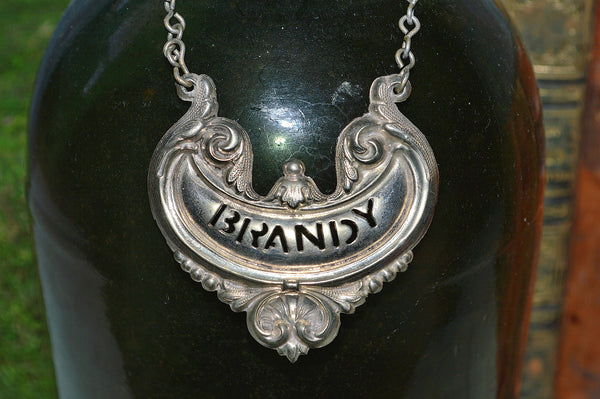 Vintage English Brandy Decanter Label Silver Plated Bottle Tag
