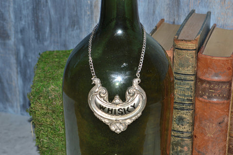 Vintage English Whisky Decanter Label Silver Plated Bottle Tag