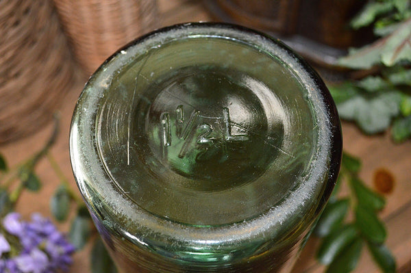 Antique French Canning Jar Green Glass Durfor 1.5 Litre