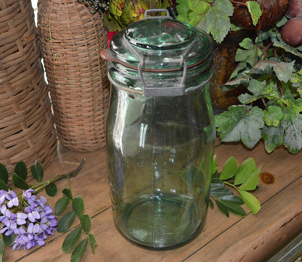 Antique French Canning Jar Green Glass Solidex 1 Litre