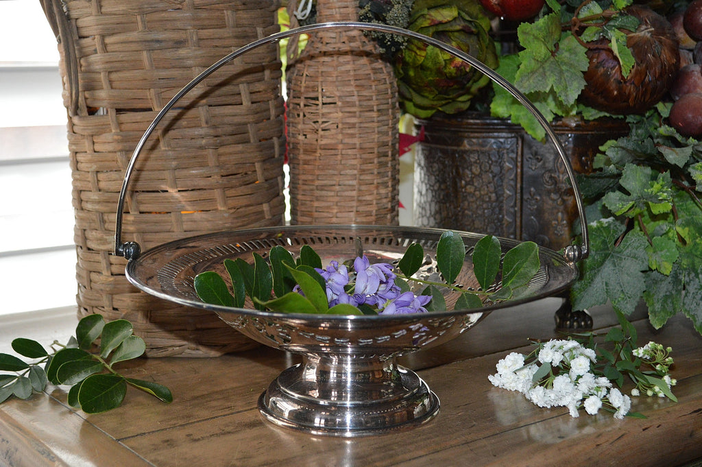 Antique English Silver Wedding Fruit Handled Basket EPNS Hallmark W.S & S