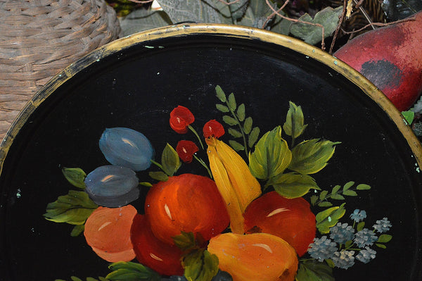 Antique Black Tole Tray Fruit and Flowers