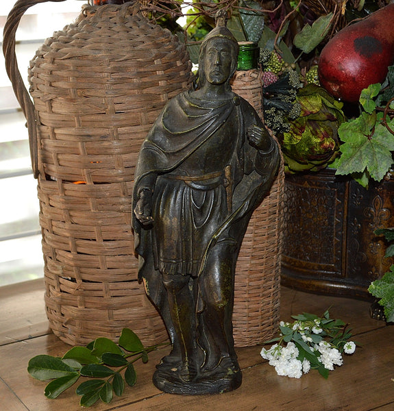 Antique Carved Wood St Florian Figure Statue