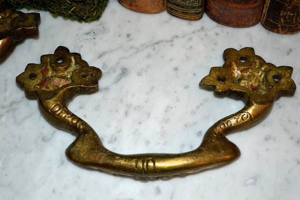 Antique Large Pair French Drawer Pulls Floral Brass Furniture Handles