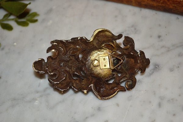 Antique French Pocket Watch Display Hook Brass Figural Knight