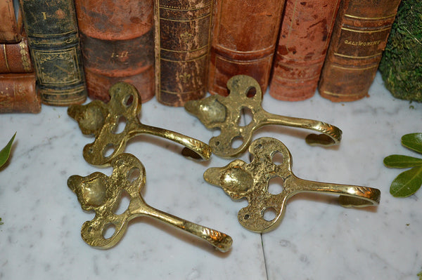 Vintage French Hook Figural Brass Whimsical Cherub 4 Available Sold Individually