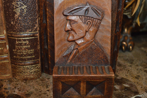 Antique French Bookends Carved Wood Breton Style Book Ends