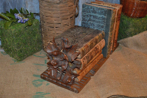 Antique German Black Forest Book Shelf Ends Carved Wood Flowers Leaves Folding Slide