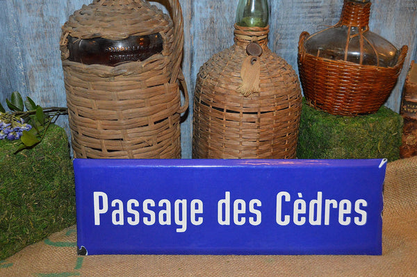 Vintage French Enamel Street Sign Enamelware Passage des Cedres Blue & White