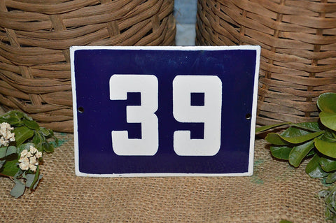 Vintage French Blue Enamel Sign Number 39 House Plaque