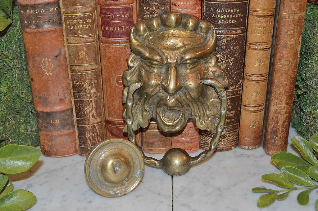 Delicieux Antique French Door Knocker And Striker Brass Gothic Greenman Gargoyle