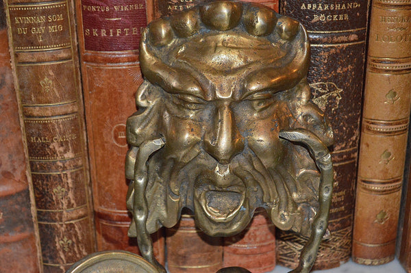 Antique french door knocker and striker brass gothic greenman gargoyle antique flea finds - Greenman door knocker ...