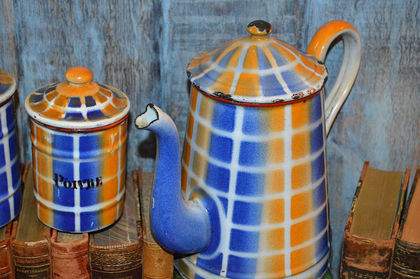 Vintage French Enamelware Kitchen Canisters Set of 6 Plus Coffee Pot
