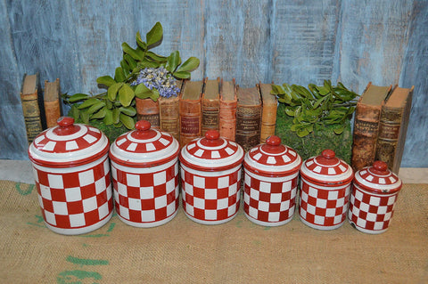 Vintage French Enamelware Canisters Set of 6 Red Enamel Kitchen Decor