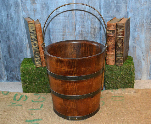 Antique Wooden Farmhouse Bucket or Pail with Metal Bands