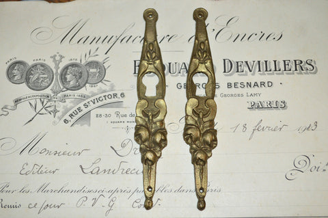 Antique Pair French Bronze Escutcheons Vertical Keyholes Roses
