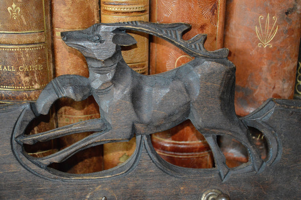 Antique German Black Forest Carved Wood Deer 4 Hook Wall Plaque - Antique Flea Finds - 2