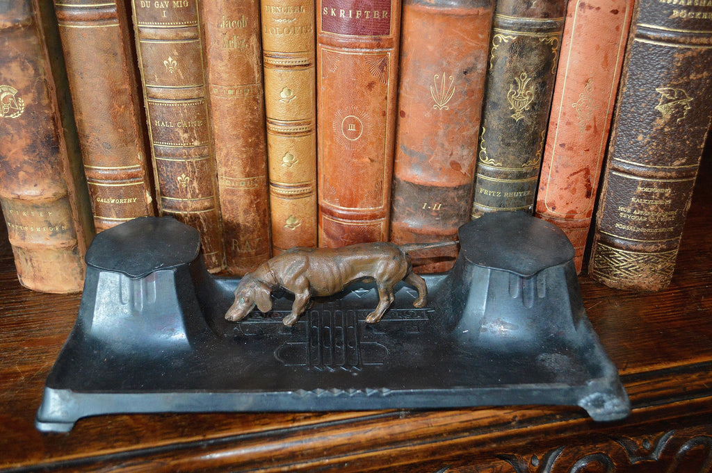 Antique German Inkwell Hunting Dog Dual Inkpots Art Deco - Antique Flea Finds - 1