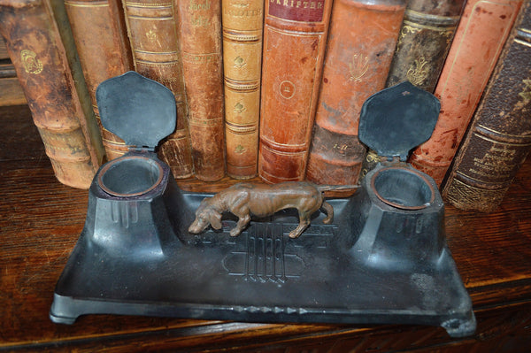Antique German Inkwell Hunting Dog Dual Inkpots Art Deco - Antique Flea Finds - 2