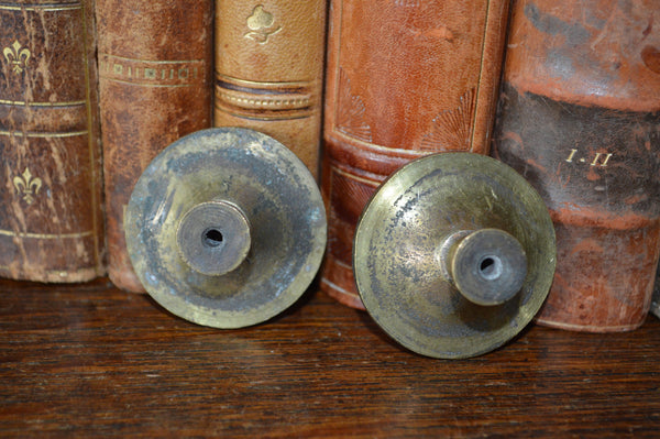 Antique Large Knobs Pair French Brass - Antique Flea Finds - 4