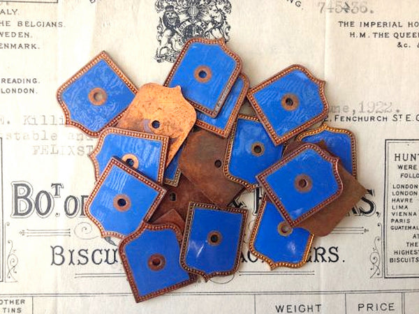 Vintage Pair Blue Enamel Plaques Shields Crest Findings - Antique Flea Finds - 2